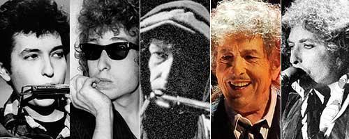 Stjärnans olika ansikten. Bob Dylan 1963, 1966, 1989, 2016 och 1978.