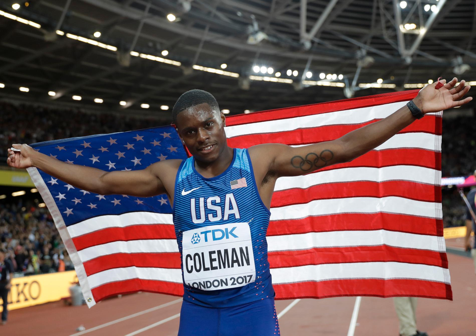 Coleman efter silverloppet på 100 meter i London-VM.
