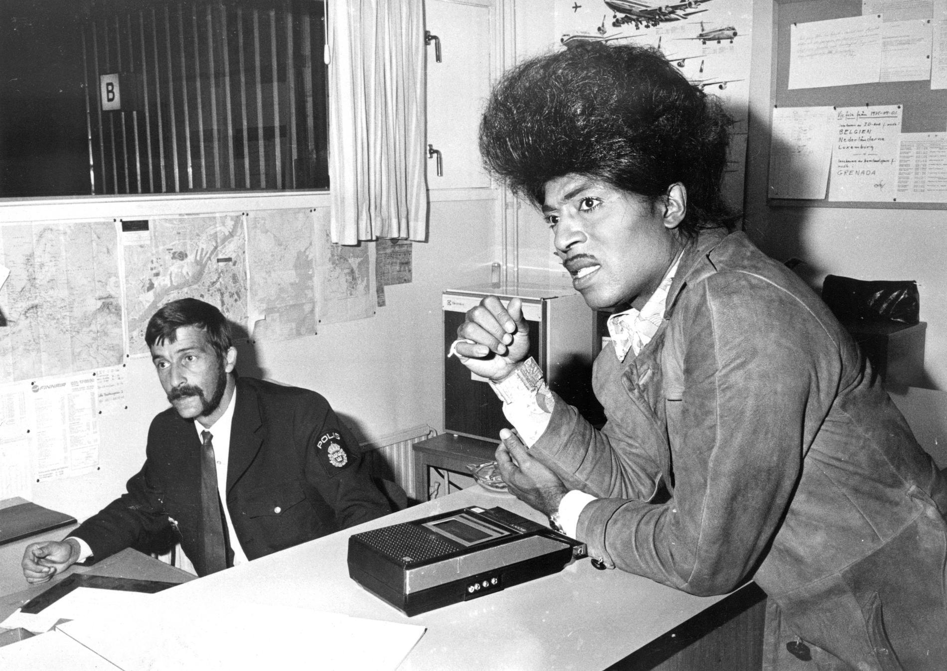 Richard Wayne Penniman, Little Richard, fastnade i passkontrollen i Göteborg 1975