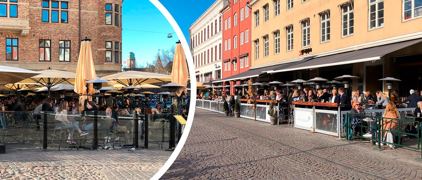 Fullt med folk som njuter i eftermiddagssolen på uteserveringarna vid Lilla Torg.