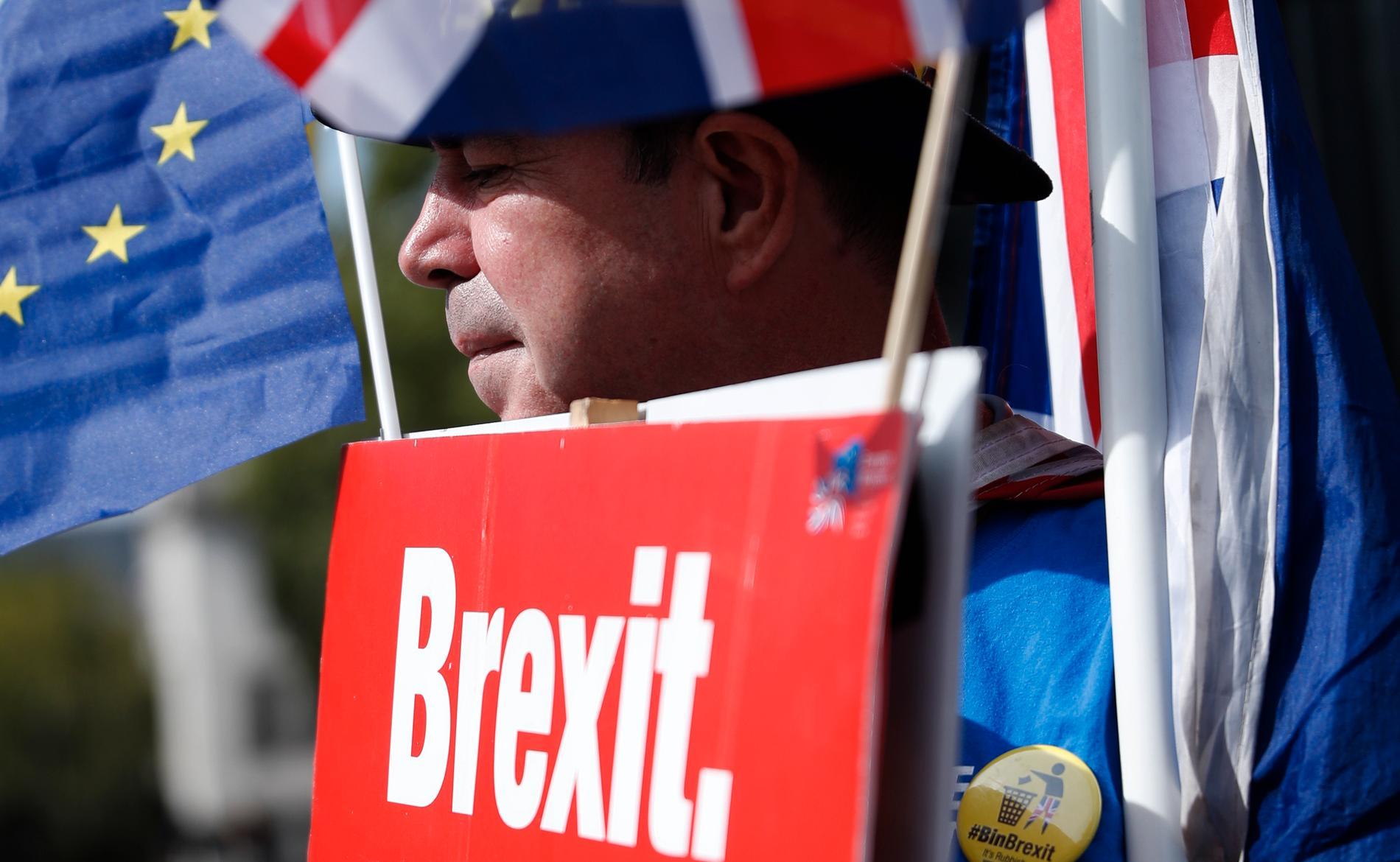 En demonstrant som vill stoppa brexit håller upp ett plakat utanför Westminster i London. Arkivbild.