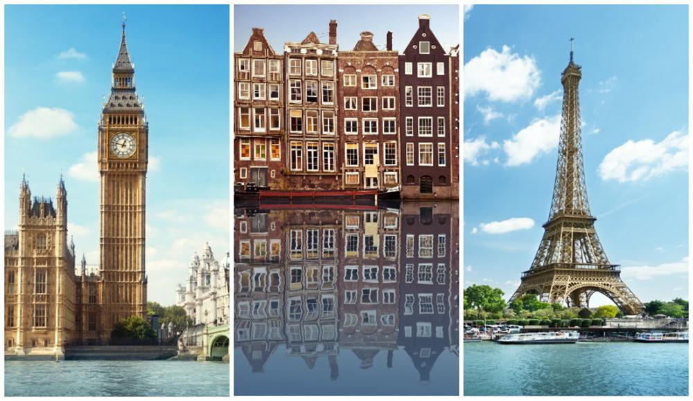 London, Amsterdam och Paris är våra favoritmål i Kristi Himmelfärdshelgen.