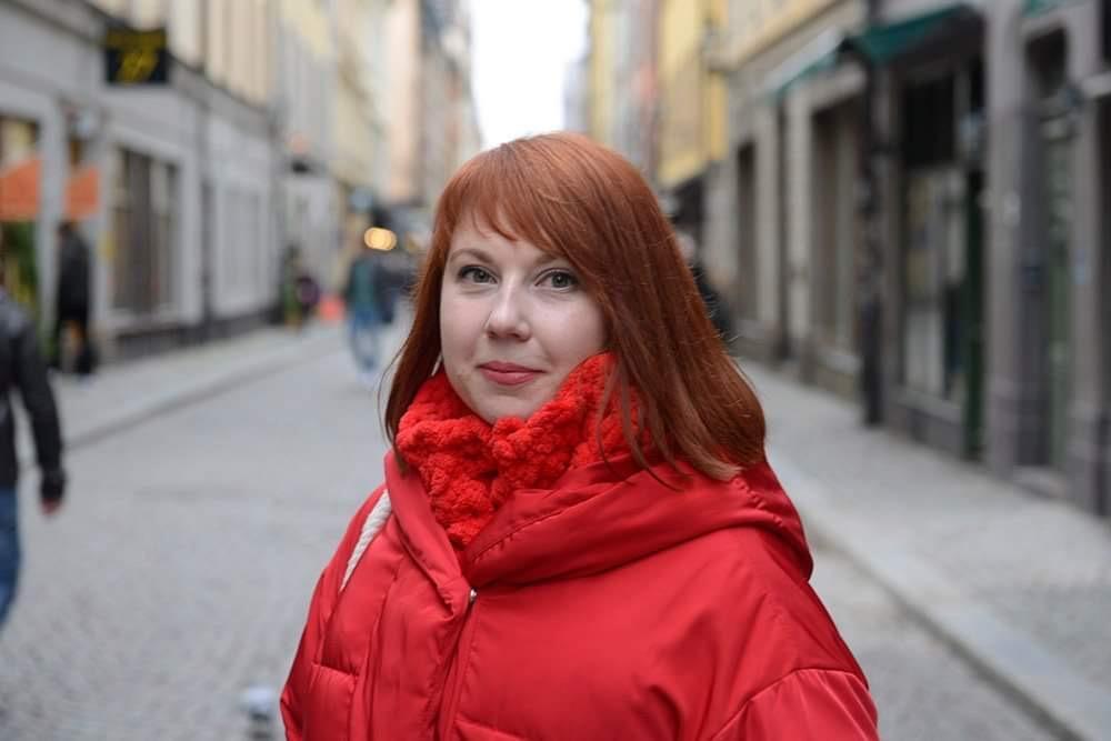 Julia Mickiewicz från belarusiska oppositionen gästade Stockholm under minnesmanifestationen