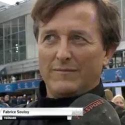 """Tränaren Fabrice Souloy var mycket nöjd med sin stjärna  Un Mec d'Heripre. """"Det är en fantastisk häst"""", sa han efter loppet."""
