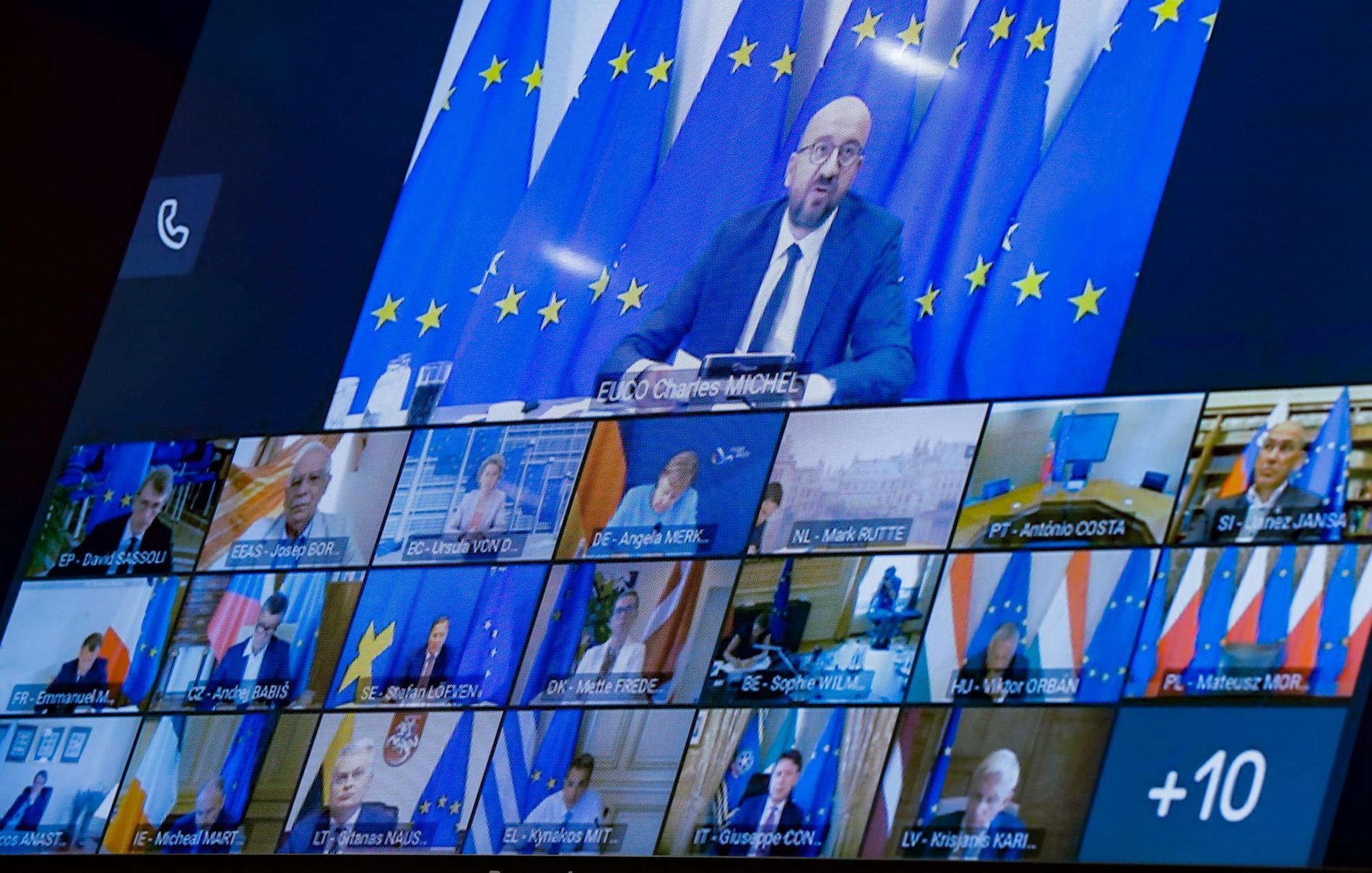 EU:s stats- och regeringschefer höll under vårens coronakris en rad webbmöten. Nu återupptas traditionen för att utbyta tankar om smittspridningsläget. Arkivfoto.