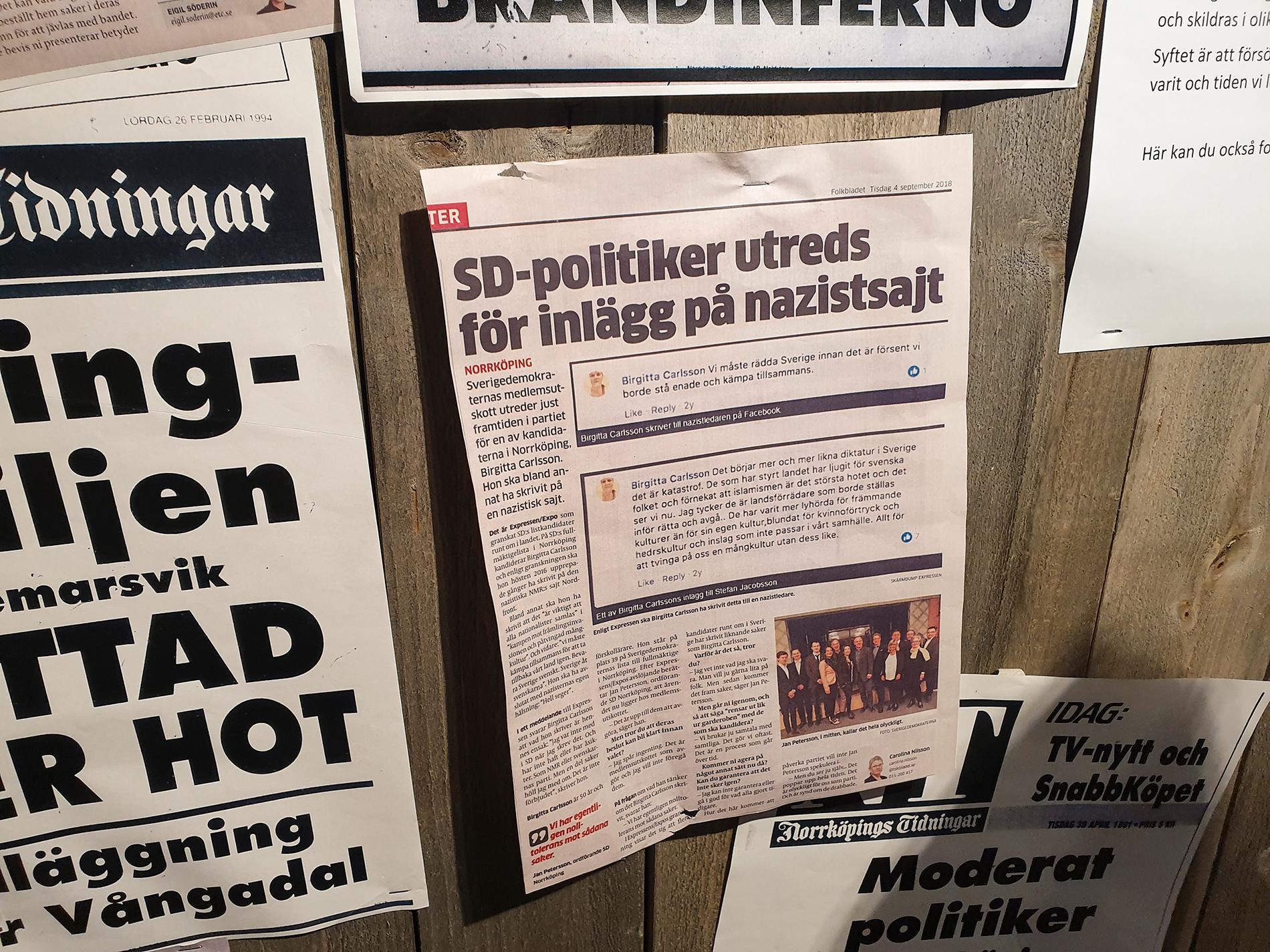 Tidningsklippet från Folkbladet på Stadsmuseet i Norrköping som fick Sverigedemokraterna att polisanmäla museet.