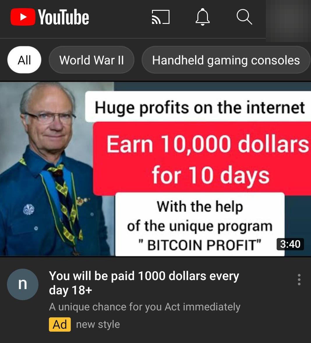 Kungen pryder bitcoinreklamen, något han inte står bakom.