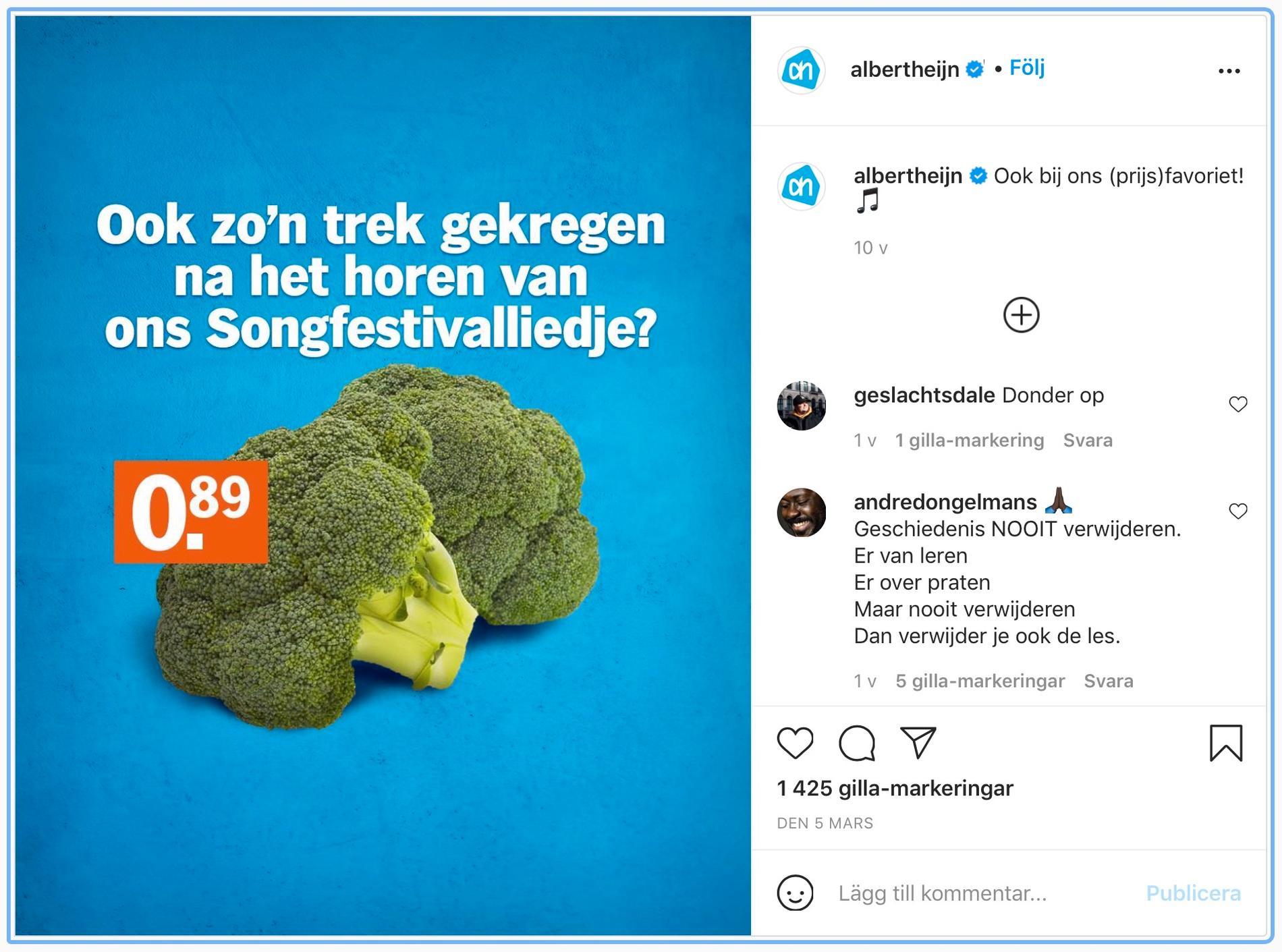 Albert Heijns reklam fick skarp kritik i sociala medier.