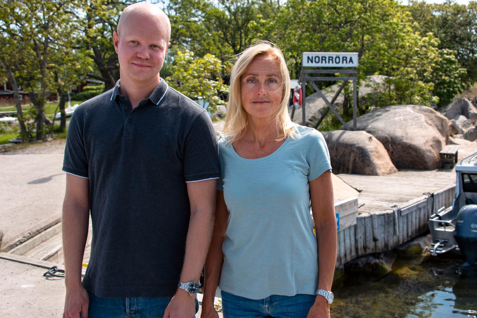 Aftonbladets Adam Westin och Lotte Fernvall på plats på Norröra.