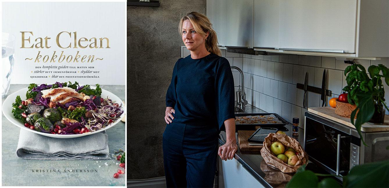 """Hemma i köket i Stockholm doftar det av äpplen och kanel. I hyllan står Kristinas kokbok """"Eat clean"""" som ges ut av Tukan förlag."""
