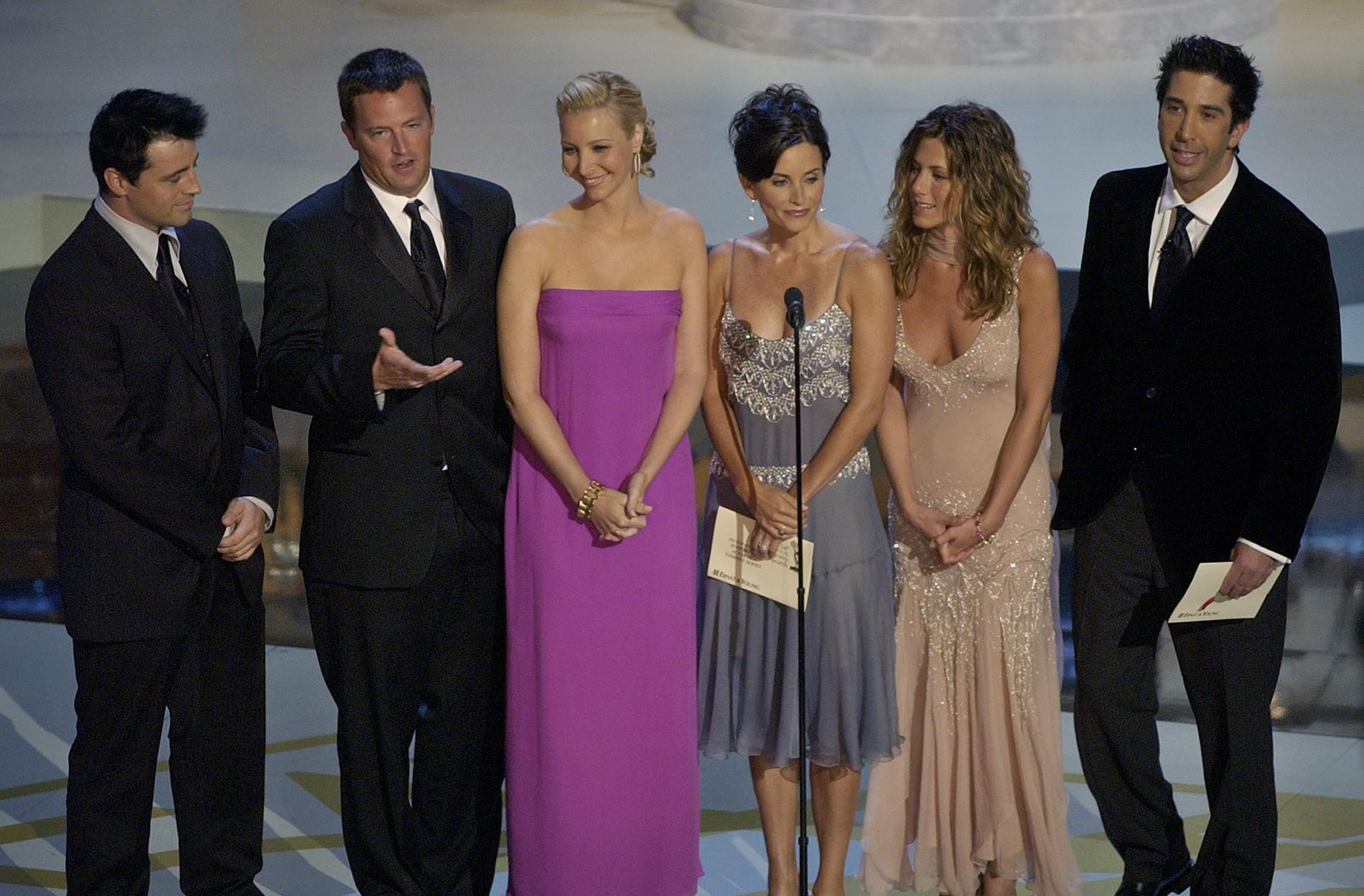 """Den 27 maj är det dags för den efterlängtade återföreningen av """"Vänner""""-gänget Matt LeBlanc, Matthew Perry, Lisa Kudrow, Courteney Cox, Jennifer Aniston och David Schwimmer. Arkivbild."""