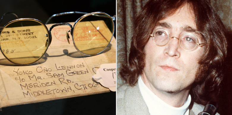 John Lennon och ett annat par av de många ikoniska runda glasögon som han bar.