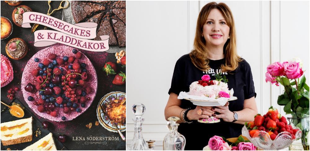 Lena Söderström med sin nya bok Cheesecakes och kladdkakor.