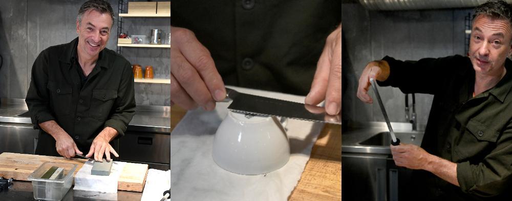 Knivar kan slipas på flera olika sätt, Tareq Taylor visar några olika varianter.