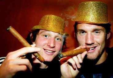 Källström och Isaksson firar SM-guld tillsammans i början av 2000-talet.