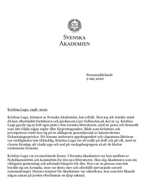 Pressmeddelande från Svenska Akademien.
