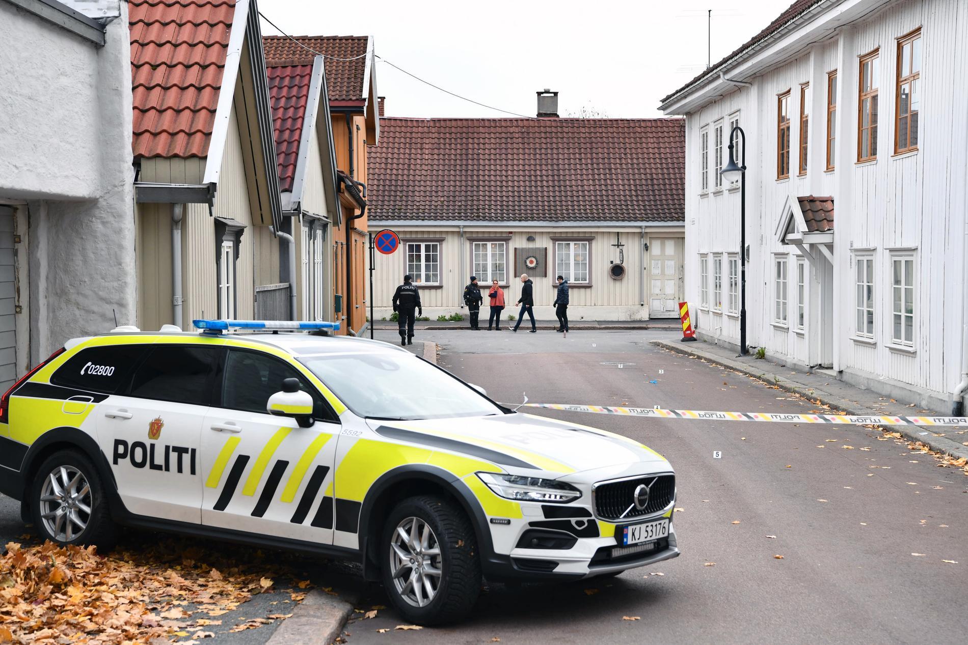 Avspärrat på gatorna i Kongsberg.