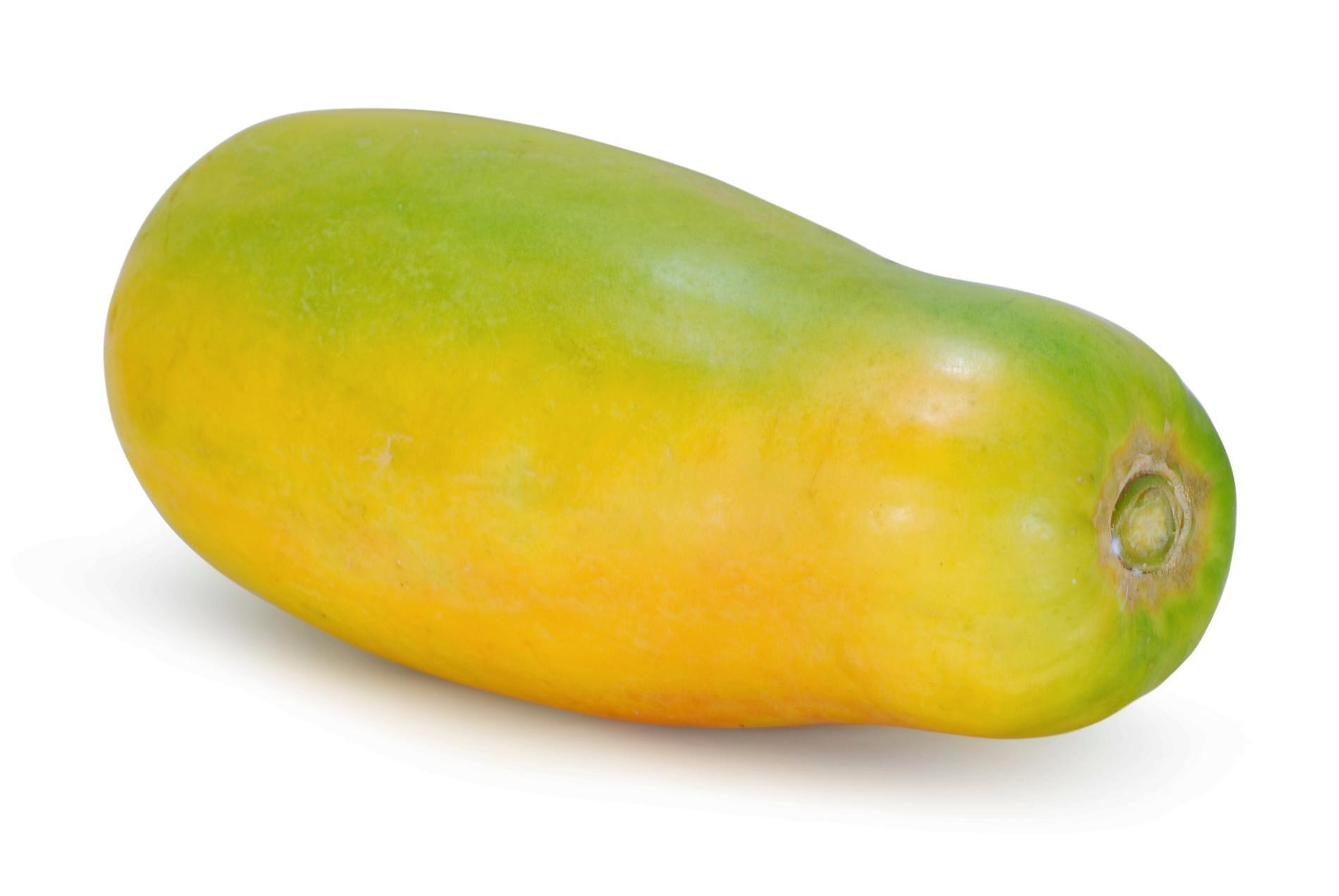 Fostret är ungefär lika stor som en papaya.