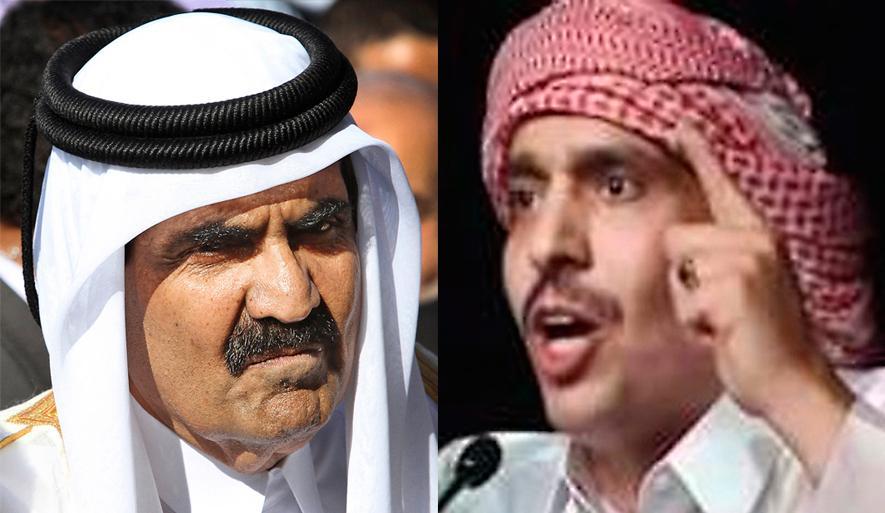Shejk Hamad bin Khalifa Al Thani (t v) har styrt Qatar sedan 1995. Poeten Mohammed Ibn al-Dheeb al-Ajami dömdes till livstids fängelse för sin dikt.