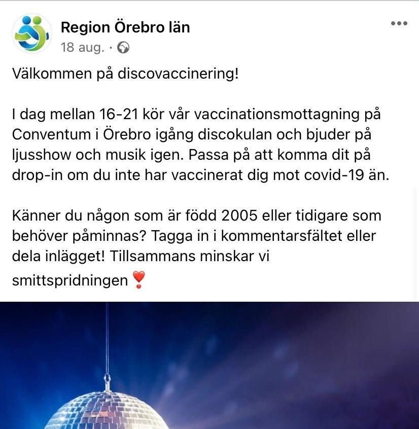 Vaccindiscot i Örebro väckte stark kritik på sociala medier. Nu har regionen valt att backa.