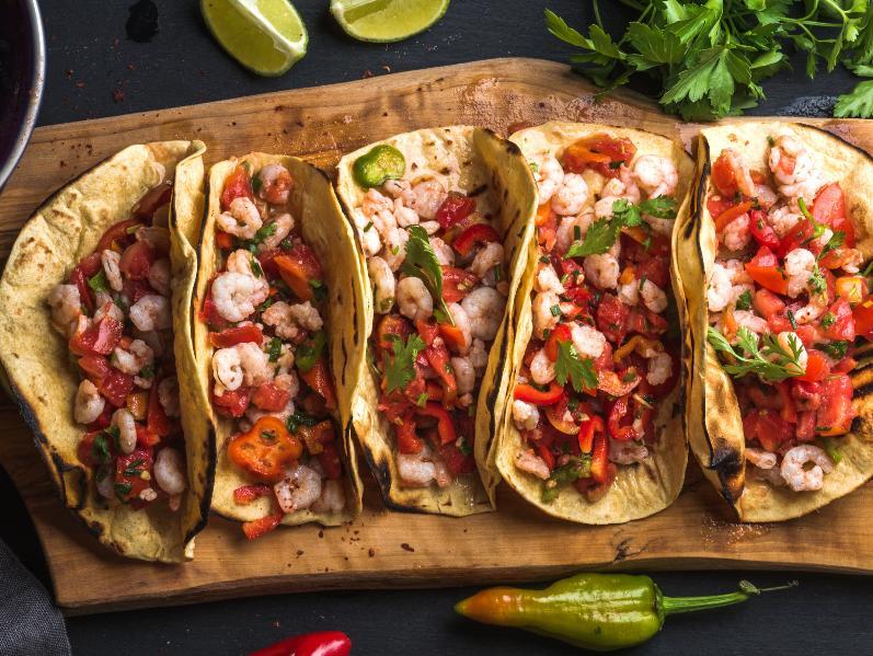 Tacos med räkfyllning.
