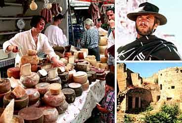 Lokala specialiteter finns på bymarknaderna . Clintan blev berömd i San Salvatore där man spelade in  För en handfull dollar . En av många ödsliga ruiner på ön.