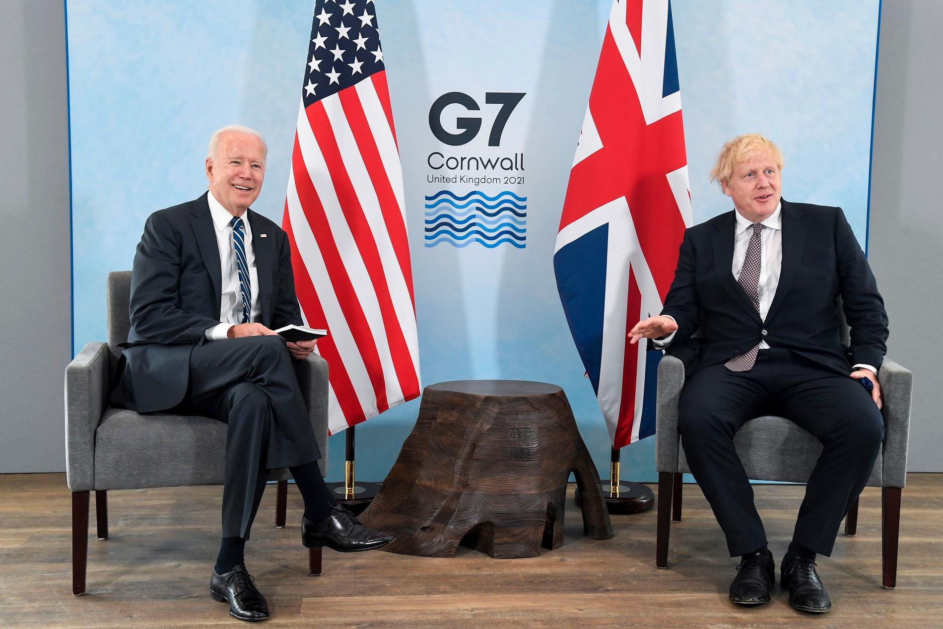 Boris Johnson och Joe Biden möttes i Carbis Bay i England på torsdagen.