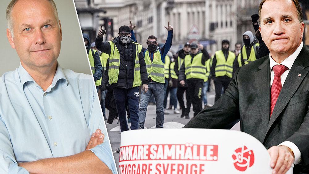 I jämtländska Bräcke får 0 procent del av de extra pengarna medan hela 16 procent får det i rika Danderyd. Regeringen är blind för orättvisorna. Det är precis sådan politik som blev den tändande gnistan för de gula västarnas protester i Frankrike, skriver Jonas Sjöstedt (V). Bilden är ett montage.