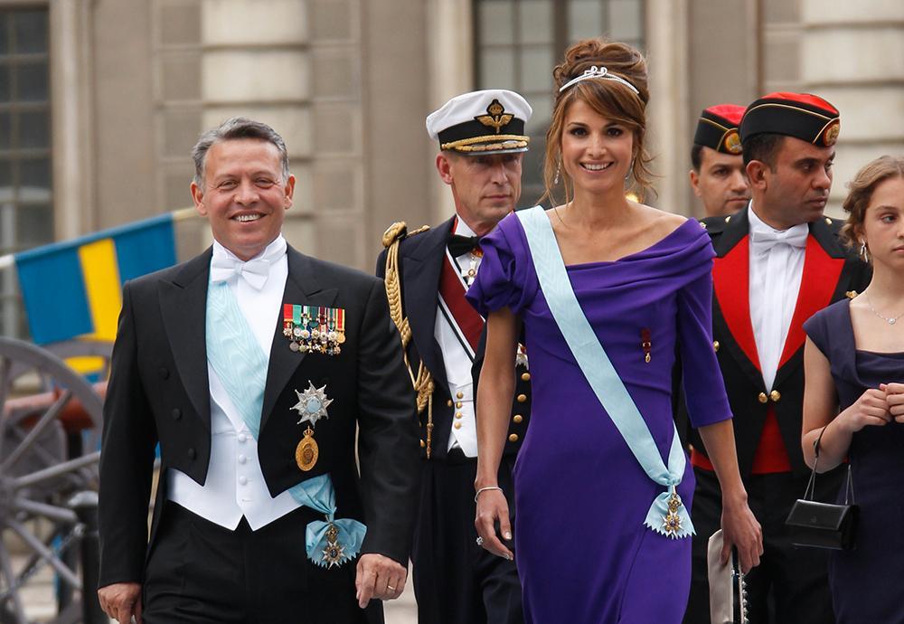 kung Abdullah II bin Al-Hussein och hans fru drottning Rania var gäster på kronprinsessan Victorias och prins Daniels bröllop 2010.