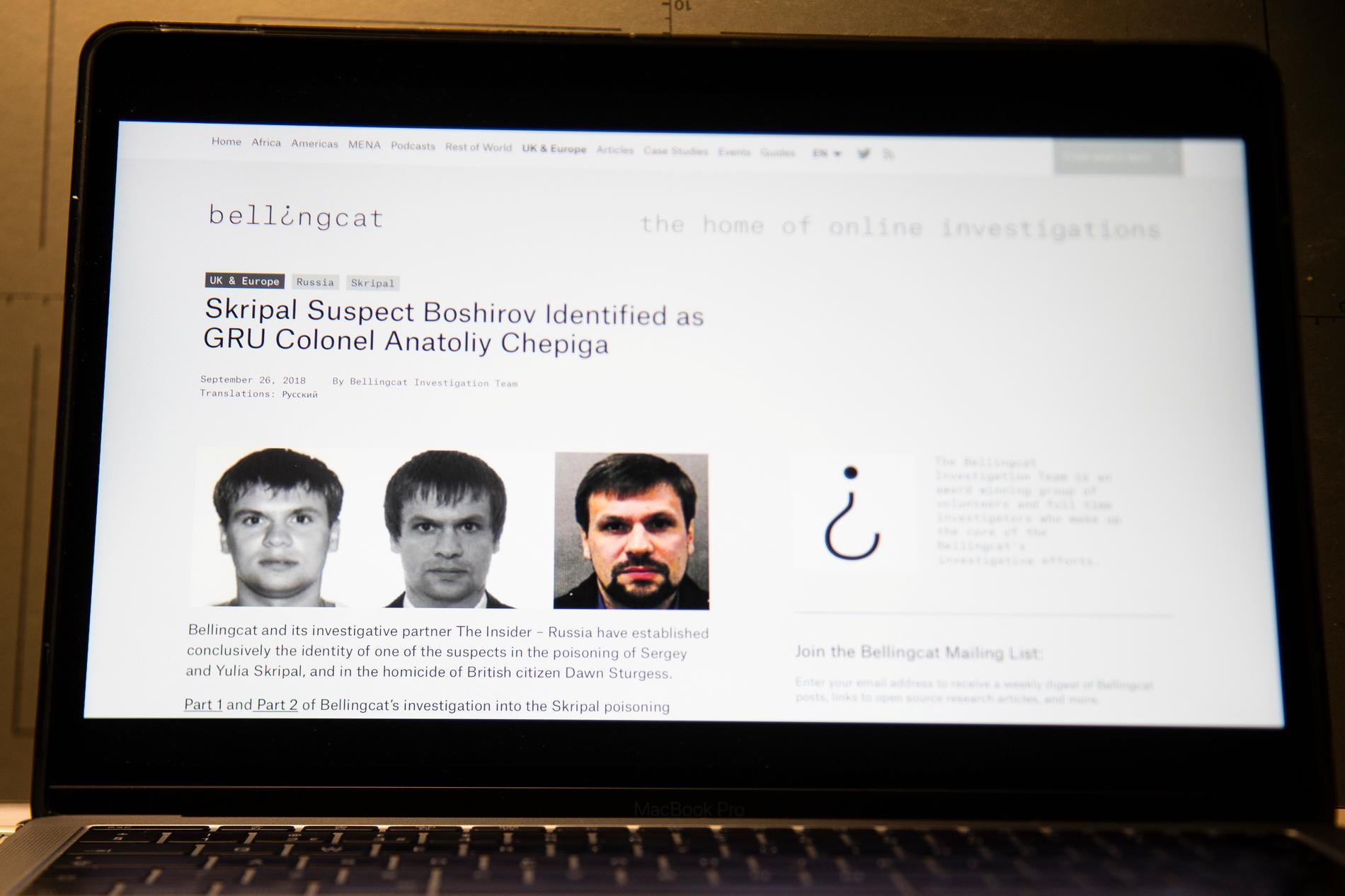Tre av de misstänkta ryska underrättelseofficerare som den grävande journalistgruppen Bellingcat bidrog till att identifiera. Arkivbild.