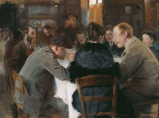 "Peder Severin Krøyer, ""Konstnärsfrukost"", 1884. Pastell på papper."