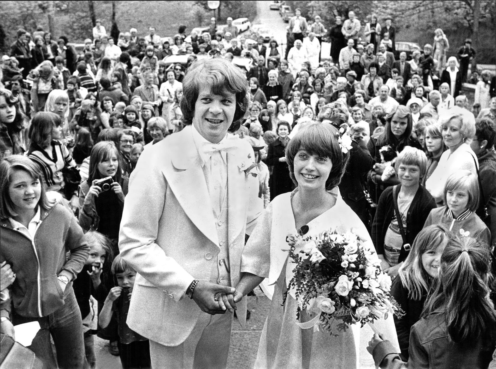 Lasse Berghagen och Eva Strand gifter sig, 1976.
