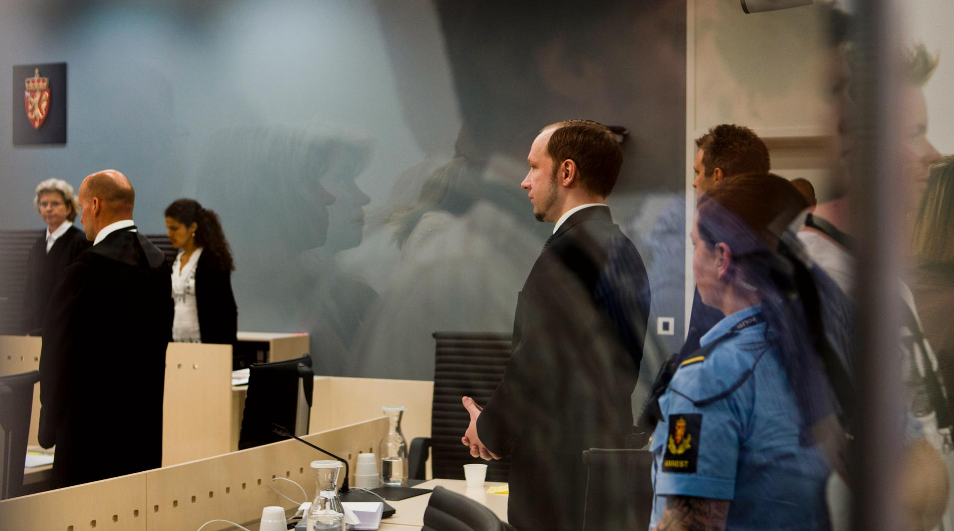 Anders Behring Breivik under rättegången 2012.