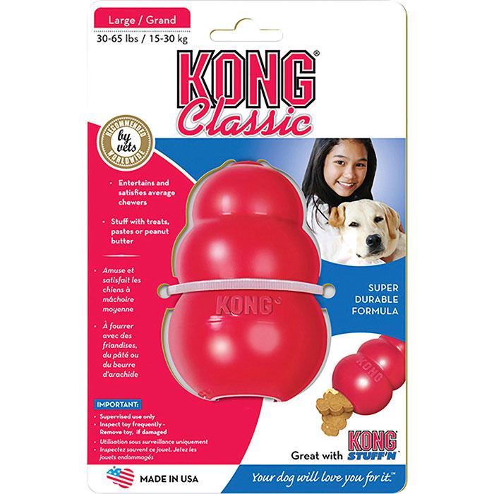 Klassisk Kong, konformad leksak som går att fylla med godis.
