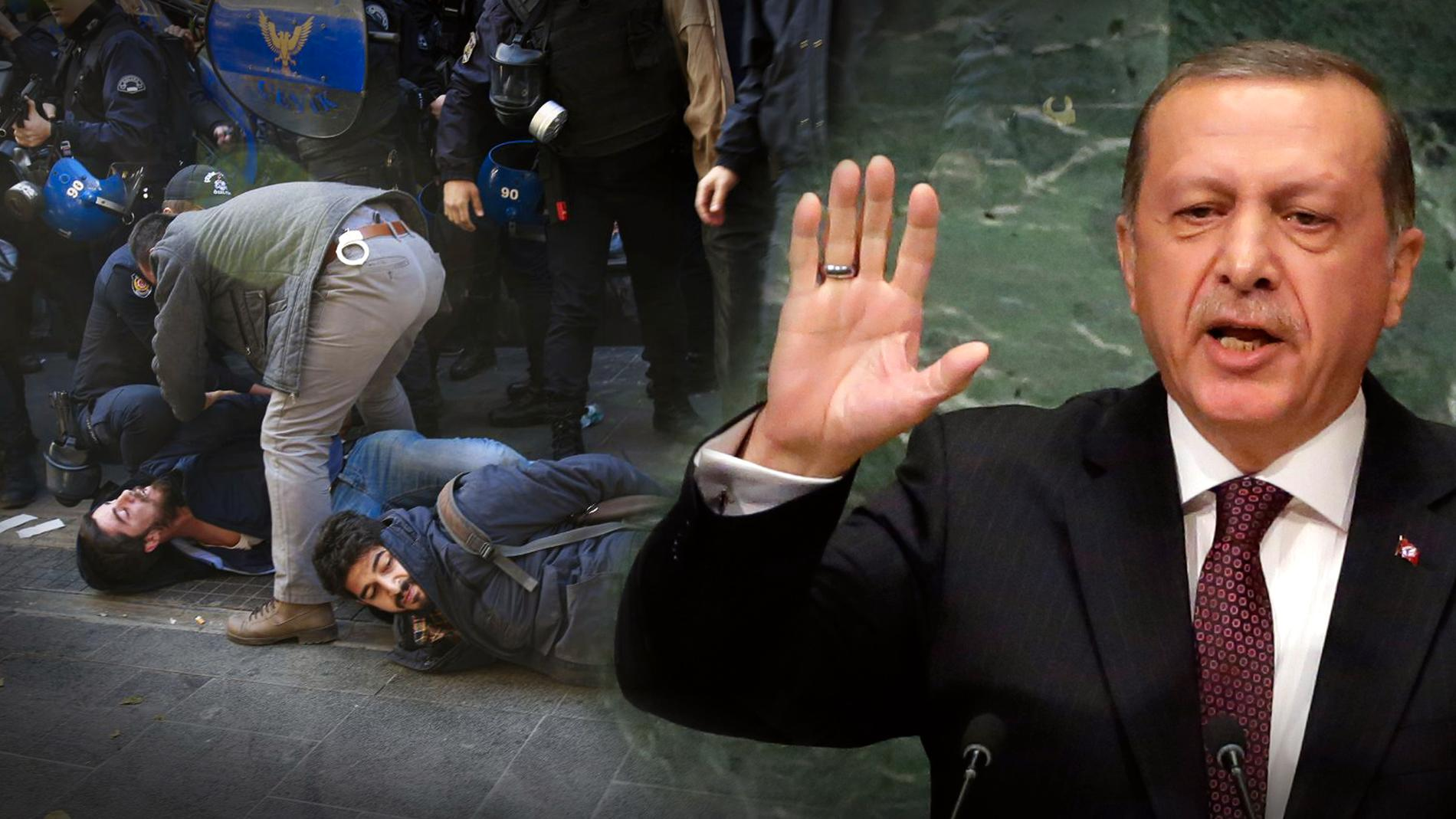 Tiotusentals har fängslats eller terrorstämplats – och president Erdogan blir allt mäktigare. (Bilden är ett montage)