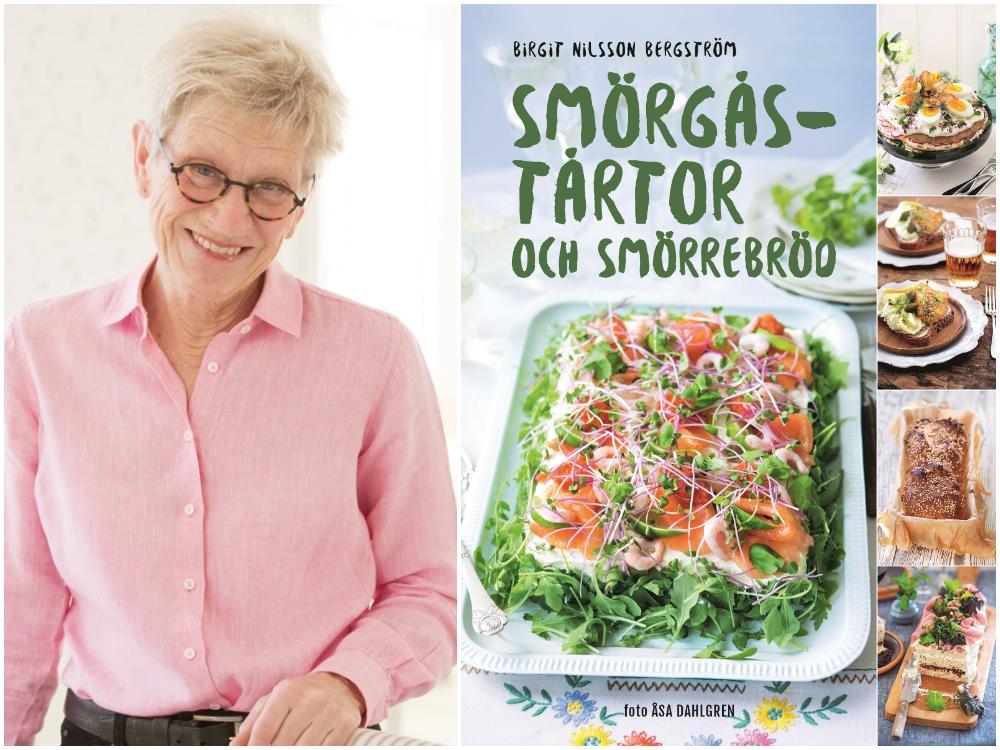 Birgit Nilsson Bergström med sin nya bok Smörgåstårtor och smörrebröd.