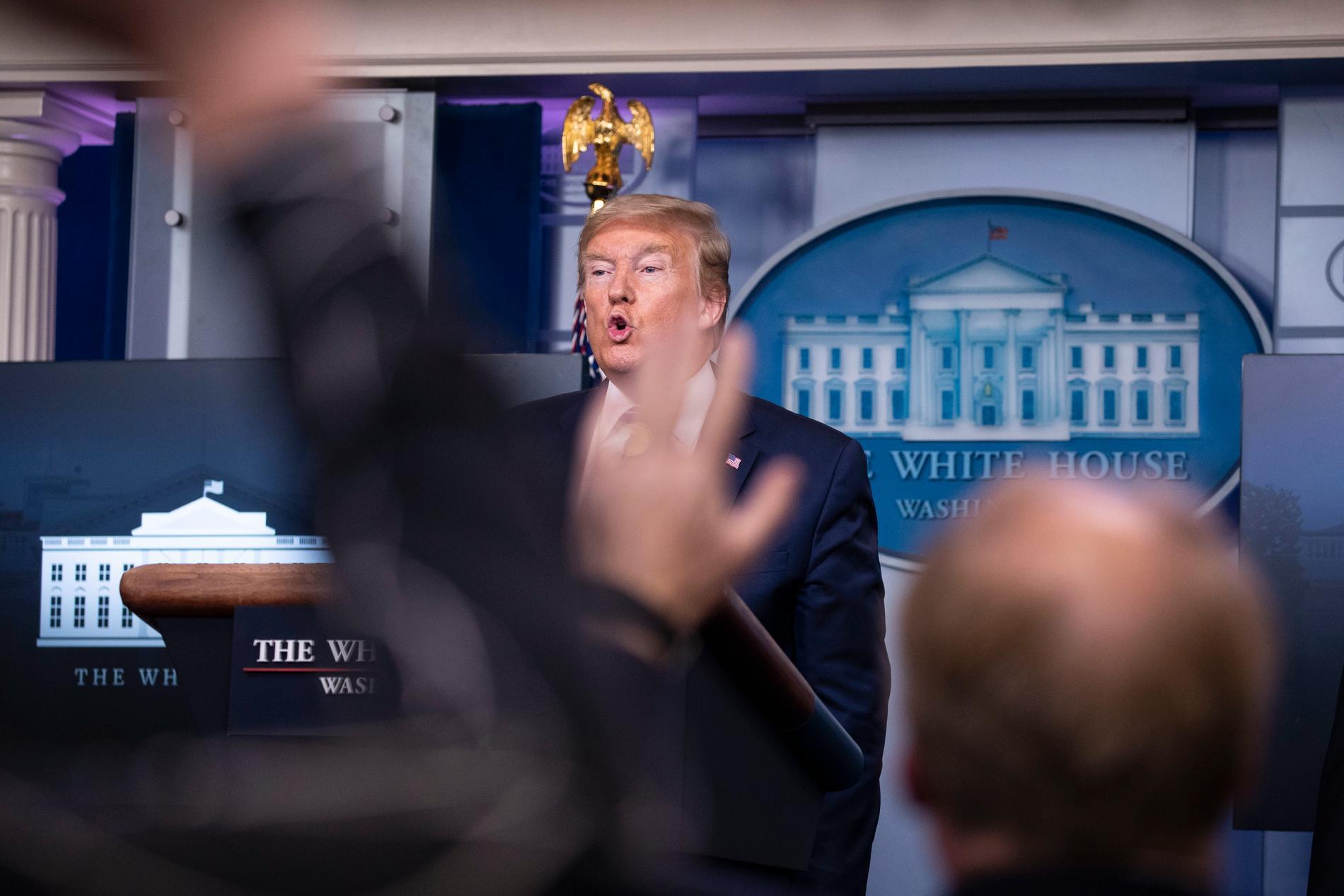 USA:s president Donald Trump i slutet av pressträffen.