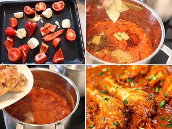 Rosta grönsaker, mixa till en puré och blanda med kycklingen.
