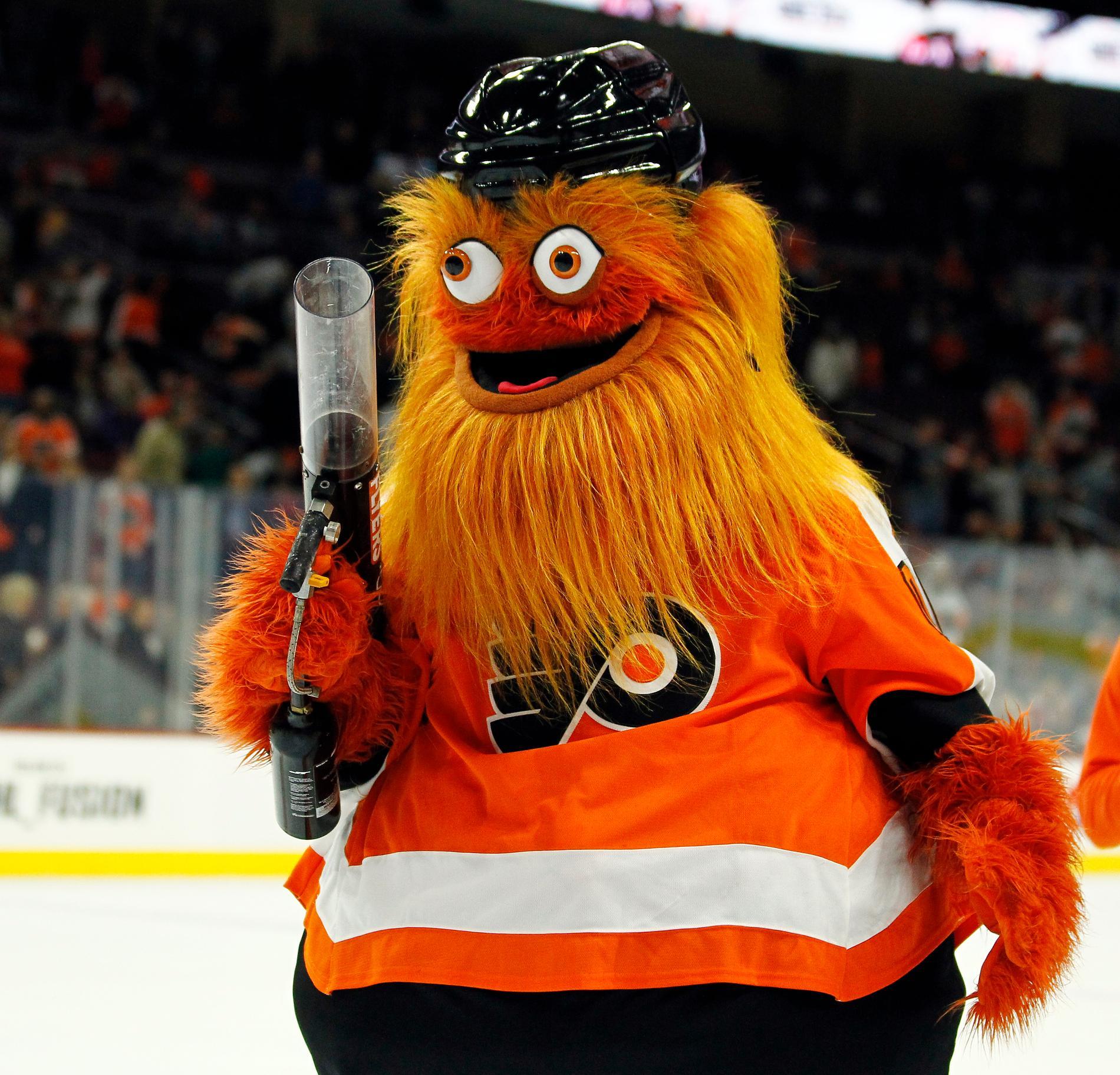 Den omtalade, orangea Philadelphia Flyers-maskoten har polisanmälts för att ha slagit en 13-årig pojke.