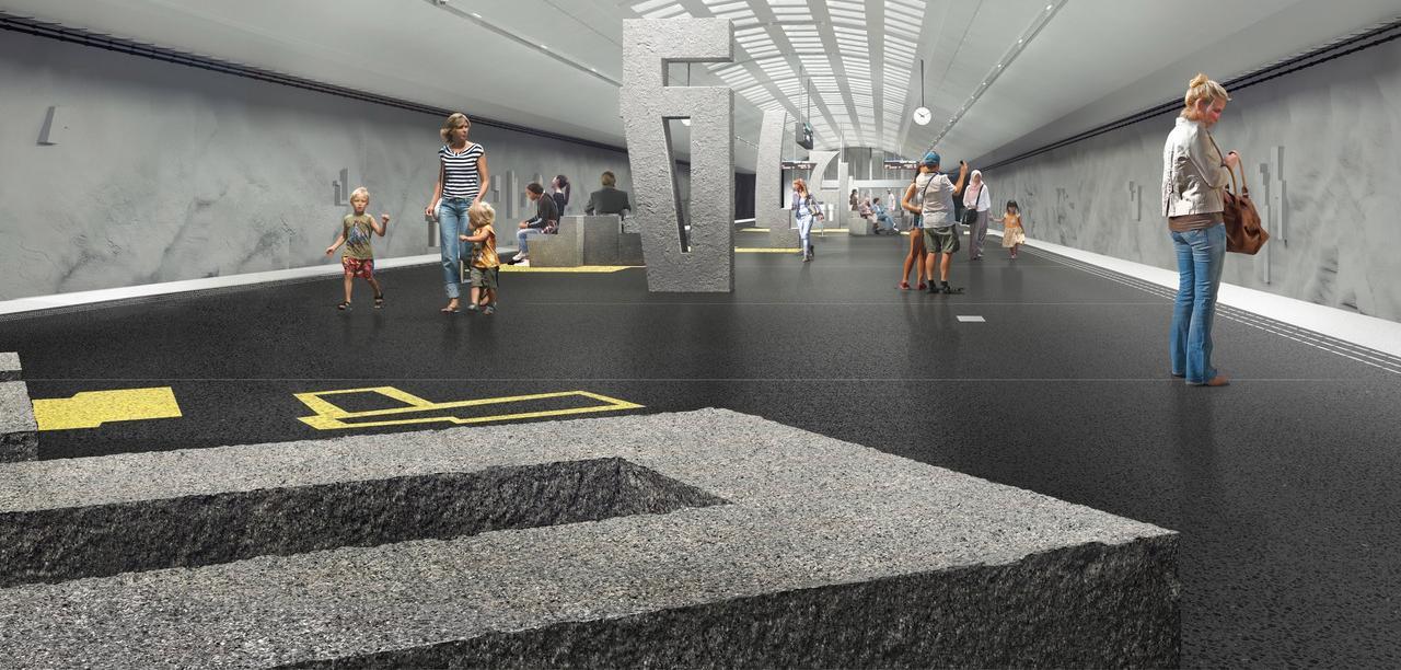 Så här ska det se ut på Blå linjens nya station Barkarby. Inga vanliga bänkar - men det går bra att sitta på konsten som är huggen i sten.