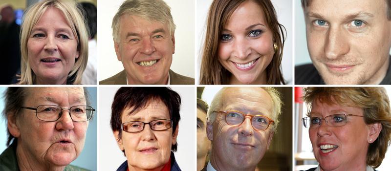 Partiernas toppnamn Marita Ulvskog (S), Sören Wibe (Junilistan), Ella Bohlin (KD), Carl Schlyter (MP), Marit Paulsen (FP), Eva-Britt Svensson (V), Gunnar Hökmark (M) och Lena Ek (C) toppar alla sina respektive partiers lista i EU-valet