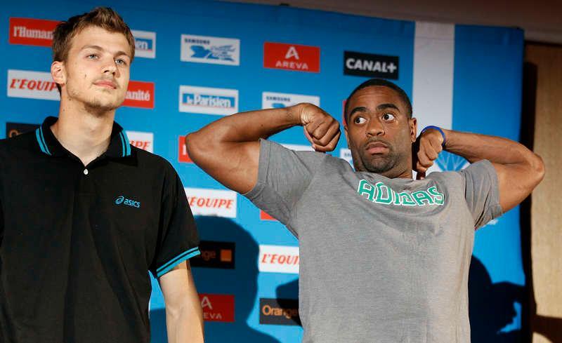 """Spänner musklerna  Amerikanen Tyson Gay laddar inför fredagens Diamond League-gala i Paris. På presskonferensen i går passade han på att kritisera Usain Bolts form. """"Bolt såg lite spänd ut då han sprang"""", säger Gay."""