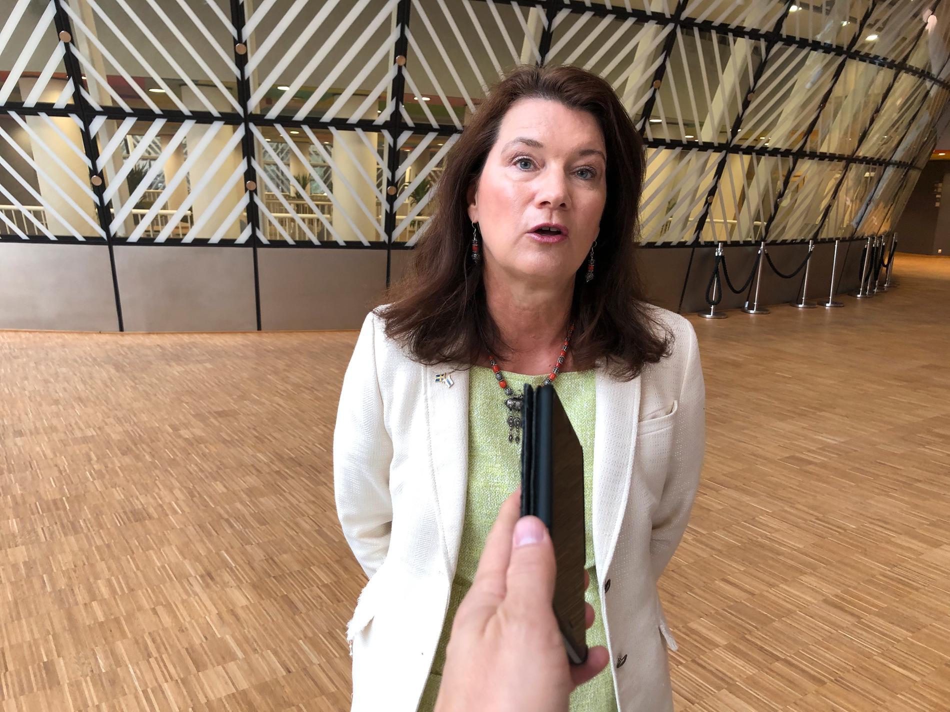 Utrikesminister Ann Linde (S) vid ett utrikesministermöte i Bryssel i juli.