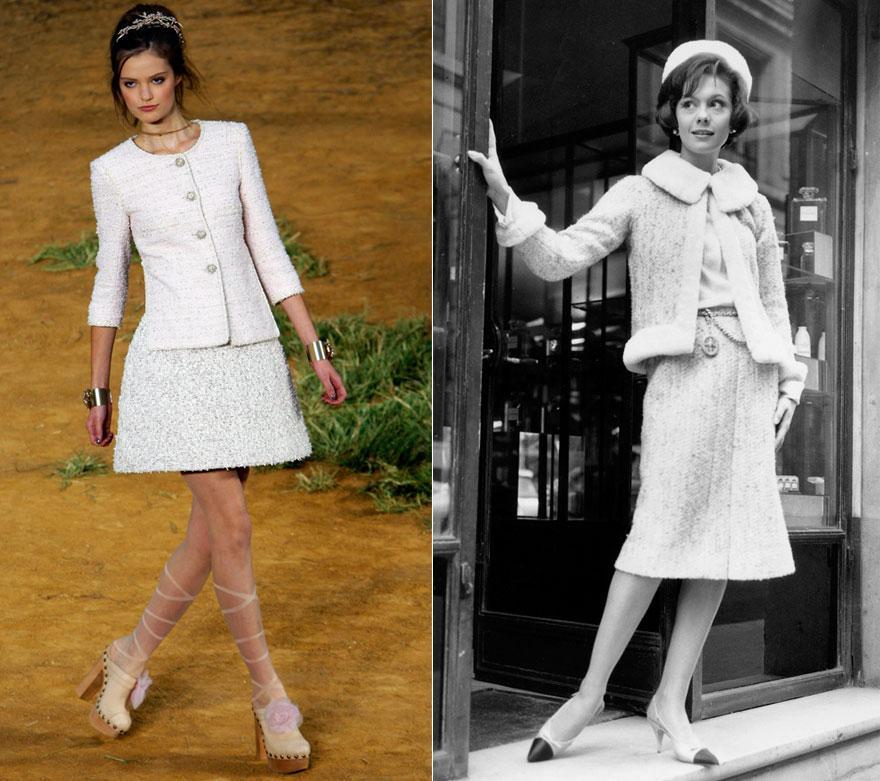 Chaneldräkter från 2010 och 1960. Lagerfeld förvaltar arvet väl.