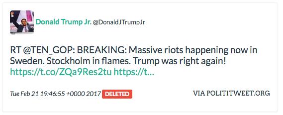 Kontot @TEN_GOP, som kopplats till en rysk  trollfabrik, har bland annat spridits av Trumps son.