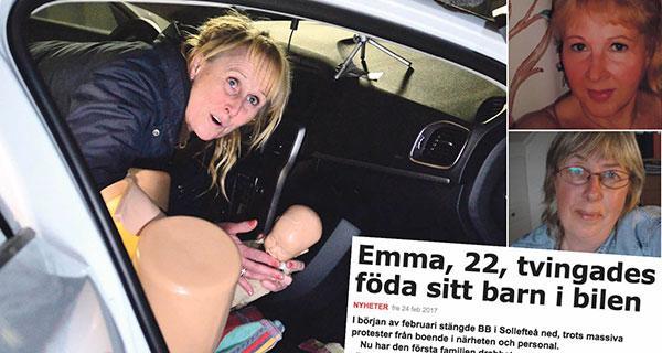 Förlossningsavdelningar läggs ner – och politiker och beslutsfattare tonar ner riskerna, skriver Carita Borlid och Annica Frisk. Bilden är från en ABF-kurs i Sollefteå där blivande föräldrar undervisas i att föda i bilen.