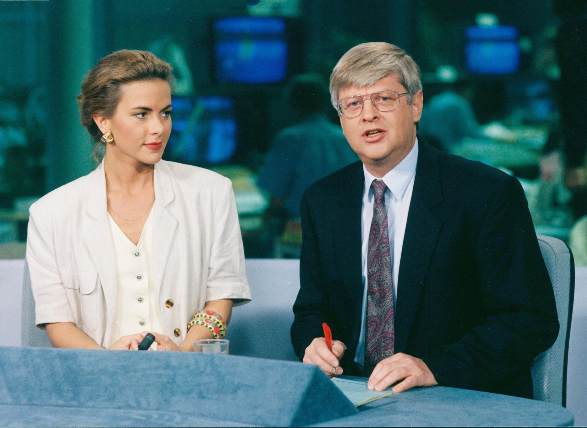 Anna Lindmarker och dåvarande SVT-kollegan Mats Weiland 1990.