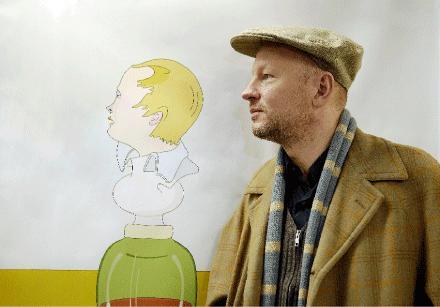 """Jens Fänges konst ska smycka ut Gärdets t-banestation i vår. Hans egen favoritstation är Östermalmstorg, med Siri Derkerts blästrade figurer. """"De ser ut som om de är gjorda alldeles nyss, de påminner lite om grafitti"""", säger han."""