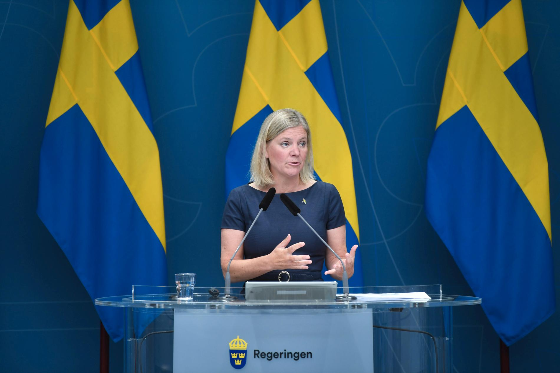 Finansminister Magdalena Andersson (S) under regeringens presskonferens.