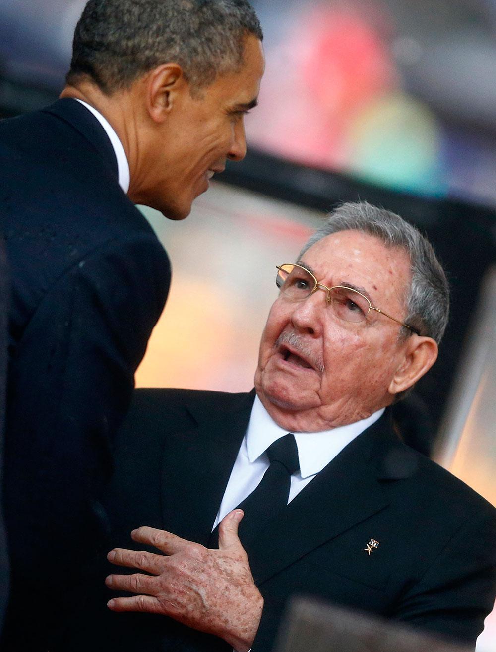 Barack Obama och Raul Castro.
